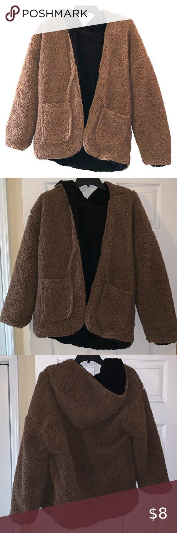 Reversible hooded teddy jacket Reversible hooded teddy