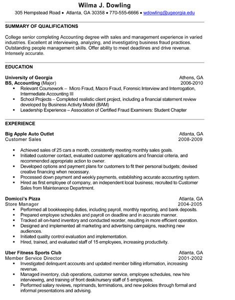 Undergrad Sample Resume 4 Jpg 471 600 With Images Internship