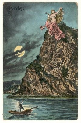 Vintage Loreley The Lorelei though, is a rock that sits on a 194 meter cliff rock on the Rhine river and this area is the narrowest part of the Rhine river that flows between Switzerland and the North Sea. The Loreley is a water spirit, similar to mermaids