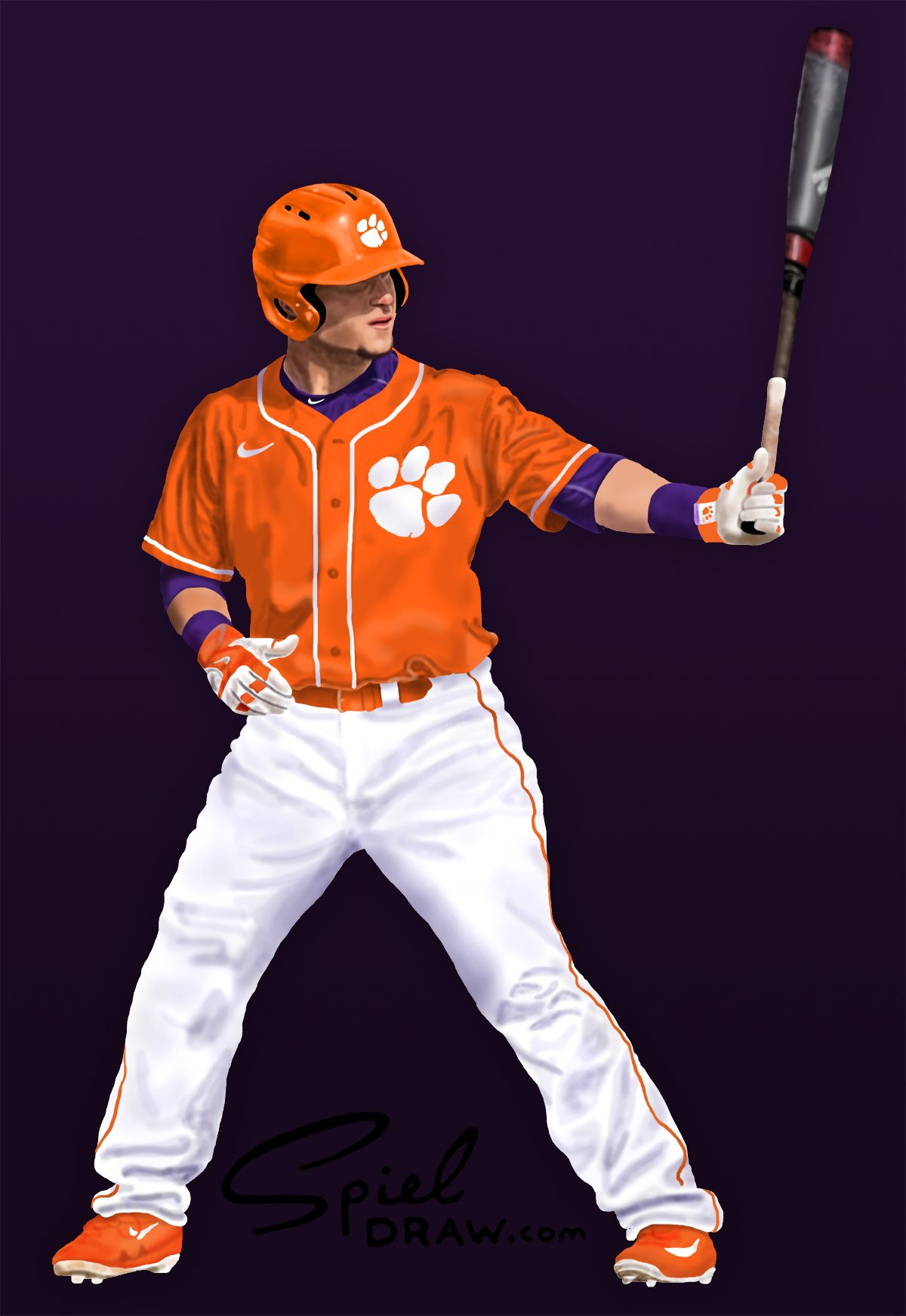 deefac4dc Digital painting of Clemson catcher Chris Okey. Created with paper ...
