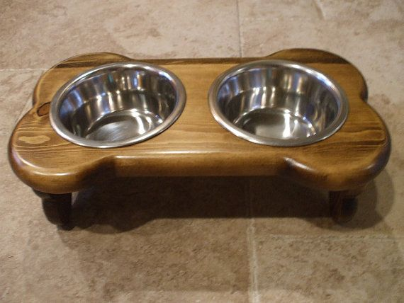 Raised Dog Feeder 1 Pt 4 Inch Double Bone Design by WoodinYou