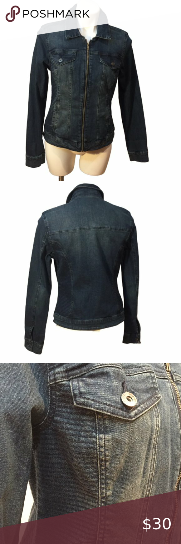 Guess Zip Front Rigby Denim Jacket Size Large Denim Jacket Denim Coat Jacket Jackets [ 1740 x 580 Pixel ]