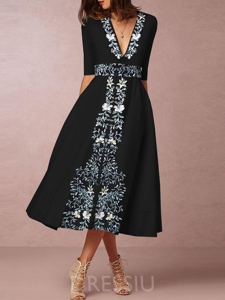 6b25735c6ee6 Mid-Calf Print V-Neck Expansion Elegant Dress in 2019