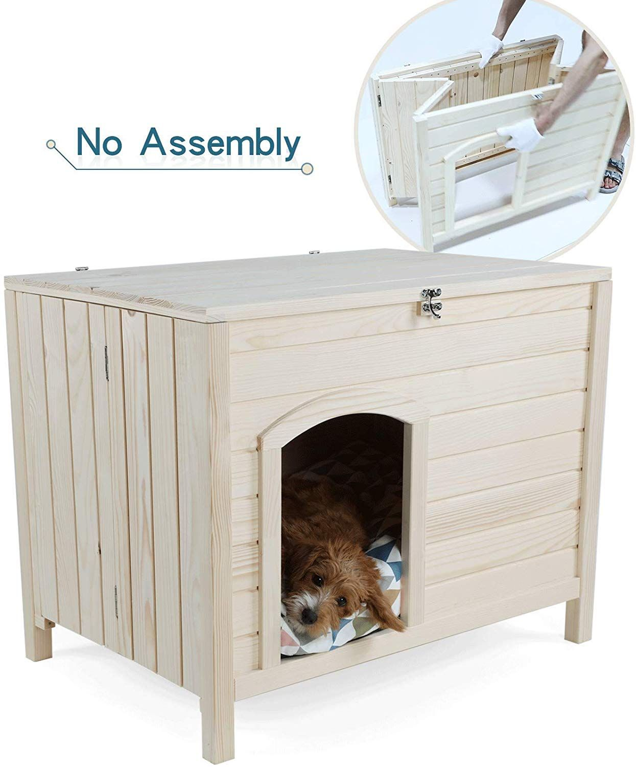 Petsfit Portable Wooden In 2020 Indoor Dog House Cool Dog Houses Wooden Dog House