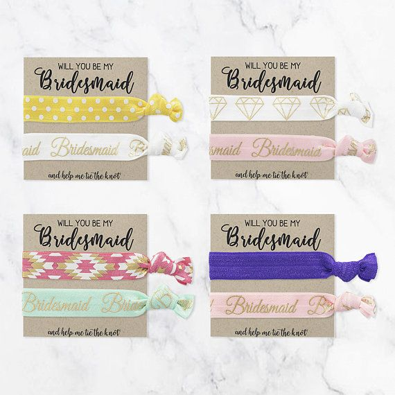 Bridesmaid proposal Gift,Maid of Honor Proposal gift,flower girl proposa CHOOSE YOUR COLORS Bridesmaid Proposal Hair Tie Card Gift,Wedding