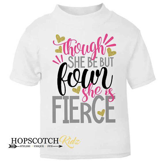 c5184114 Four Fierce Birthday Top 4 Birthday Shirt 4 Birthday Girl   T-shirts ...