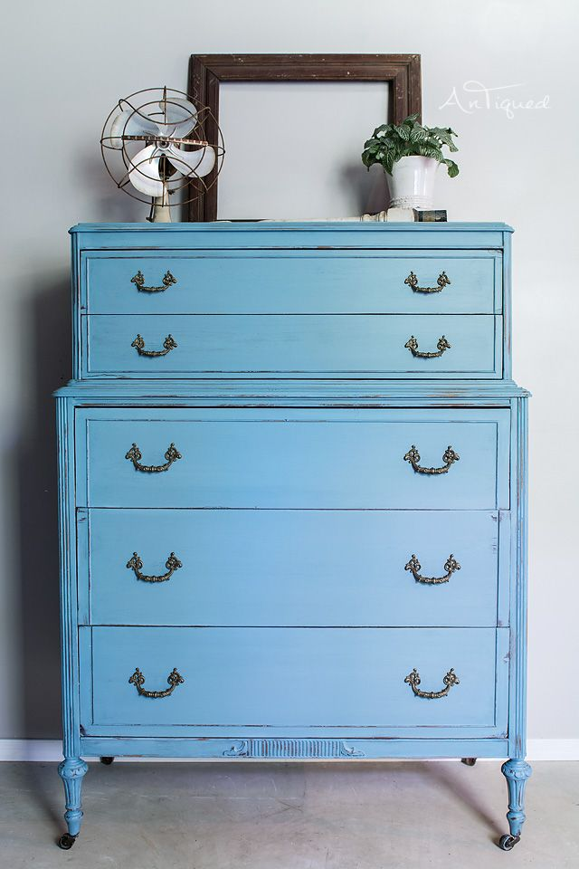 Light Blue Painted Chest Of Drawers