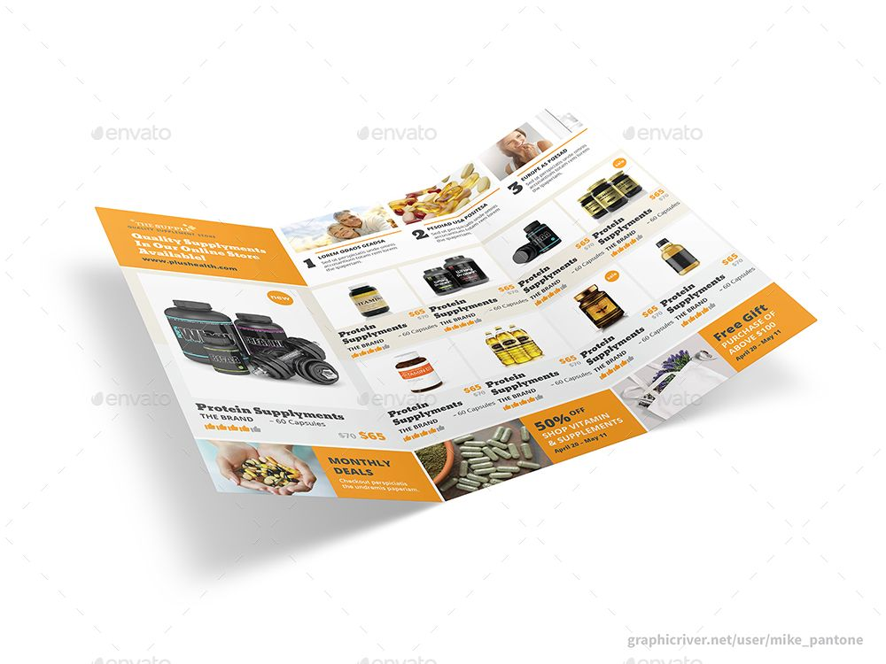 Vitamin Store Trifold Brochure Informational Vitamins, Store