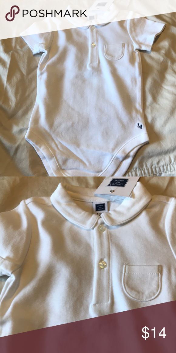02998271721e Janie and Jack baby boy bodysuit White knit Cotton bodysuit with collar and  pocket Size 6 to 12 months