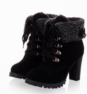 Winter Winter Fashion Plus Size High-heeled Boots