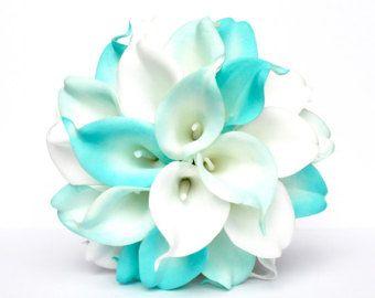 bd20a78100 Bouquet da sposa bianco verde turchese, turchese fiori Bouquet da sposa,  centrotavola matrimonio, decorazioni, mazzi di fiori finti di nastro di  seta La ...