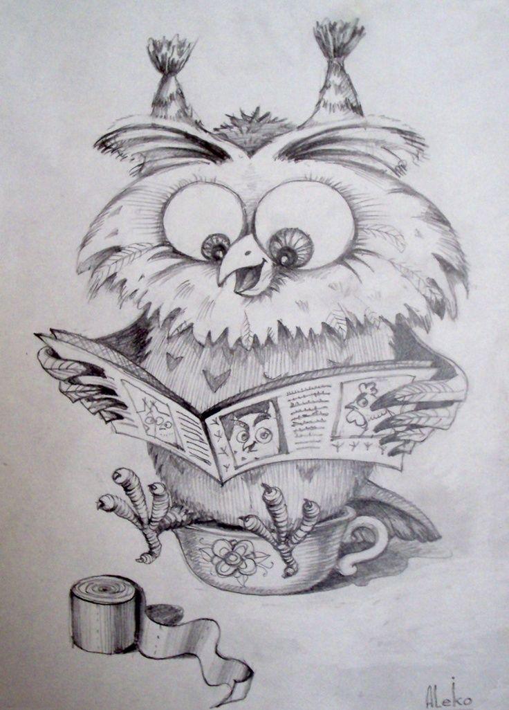 Месяца открытки, картинки смешных сов нарисованные карандашом