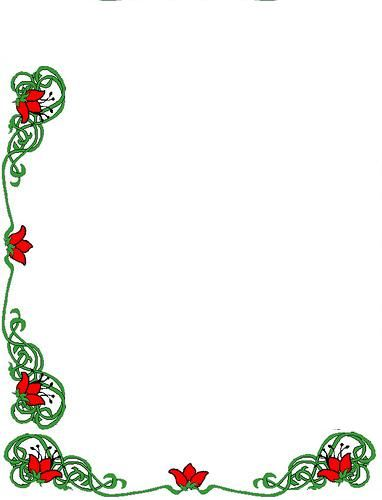 New year Green and Red Flowers Corner Border Design 2014 ...