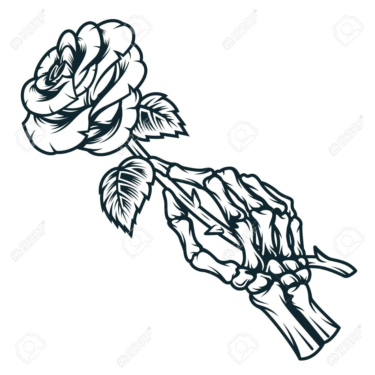 Skeleton Hand Holding Rose Flower In Vintage Monochrome Style Isolated Vector Illustration Illustration Aff Hand Holding Rose Hand Tattoos How To Draw Hands