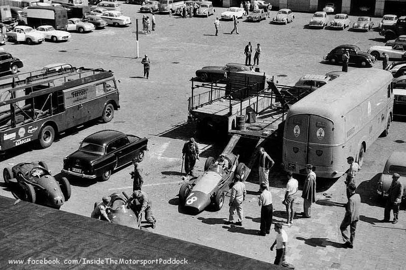 1957 nurburgring deutschland gp paddock scuderia ferrari transporter officine alfieri. Black Bedroom Furniture Sets. Home Design Ideas
