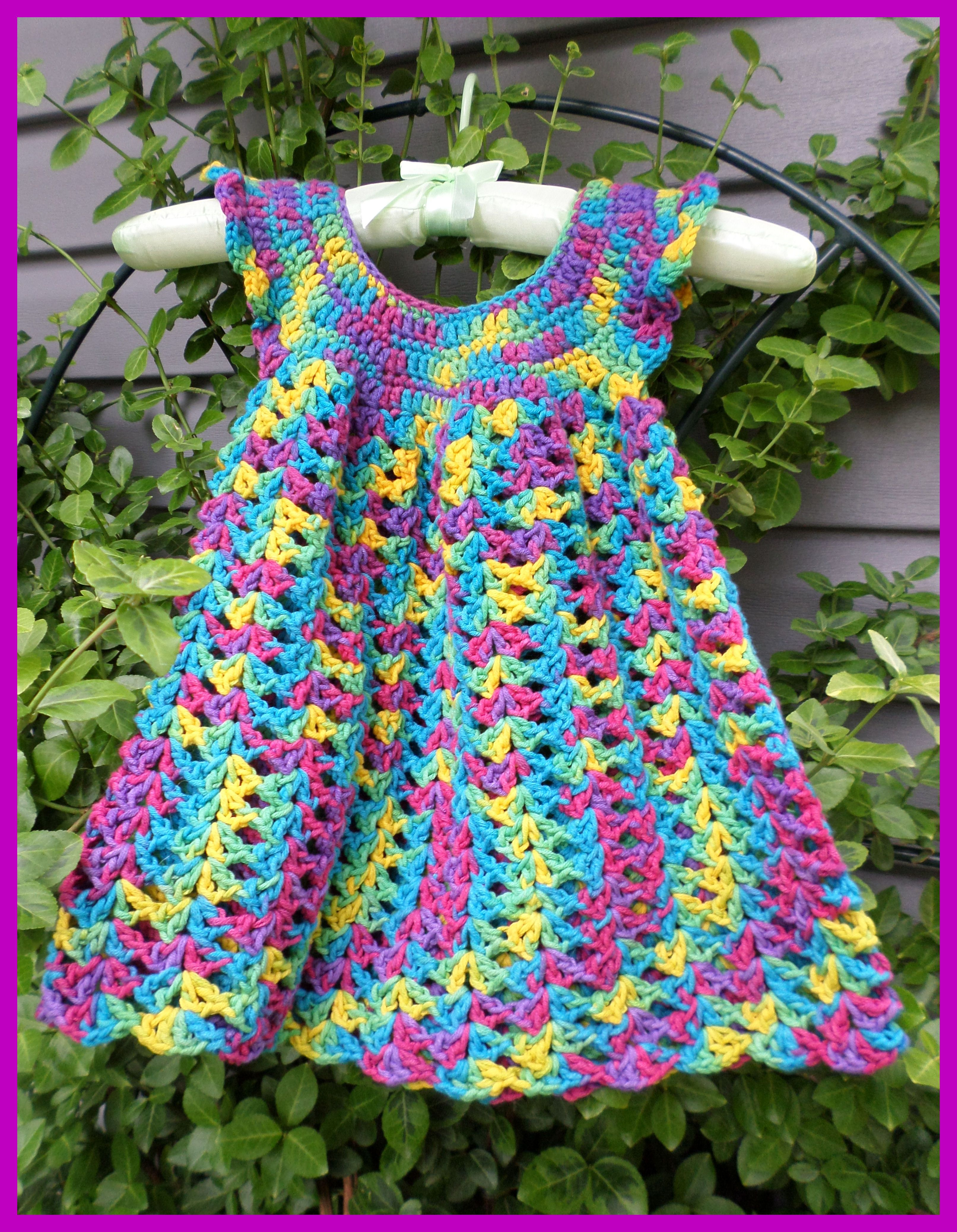 GIRL\'S CROCHET DRESS FREE PATTERN AVAILABLE ON RAVELRY. I USED 50/50 ...