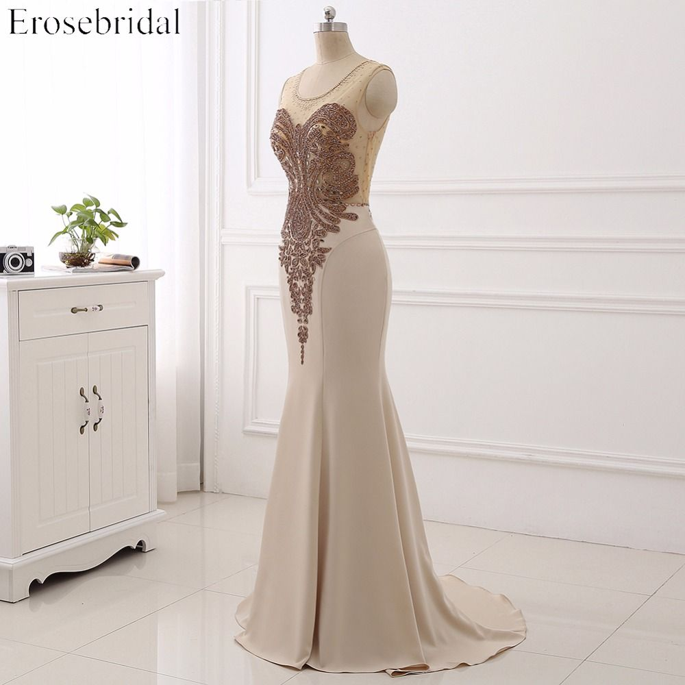 High quality appliqued beaded long satin prom dress tank sleeveless