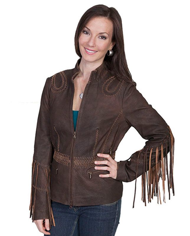 Scully Ladies Brown Ranch Leather Jacket with Long Fringe Sleeves -  Outerwear - Women's classic Western