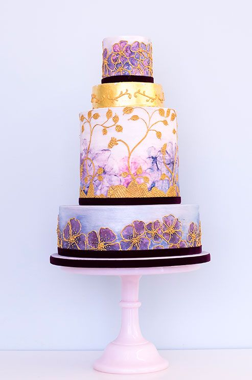 A Gilded Watercolor Painted Cake Is Definite Showstopper