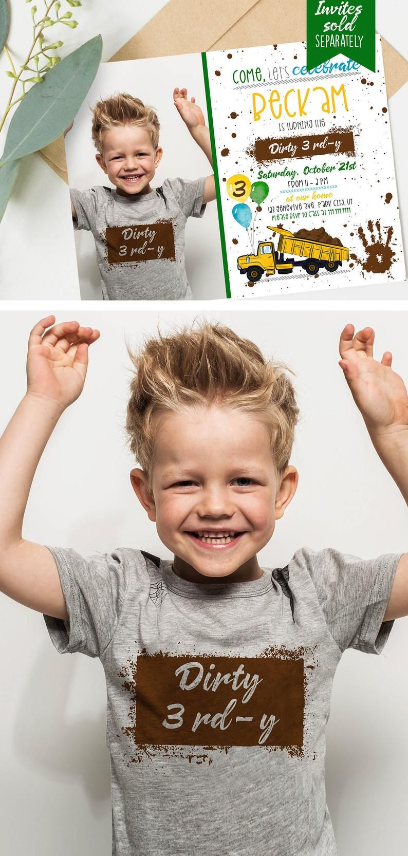 Dirty 3rdy boys birthday tee shirts- IRON ON TEE - 3rd birthday-  dirt, green blue & yellow - Boys 3rd Birthday shirt -Digital Download