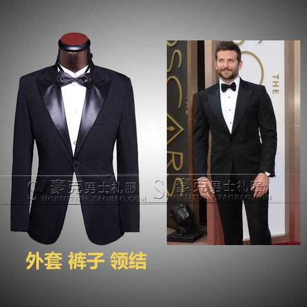 0242a19f47 New 2014 Oscar Shawl Collar Sequined Dress Costume Wedding Tuxedo For Men  Custom Made Black Three Piece Suit((Jacket+Pants+Tie) on Aliexpres.