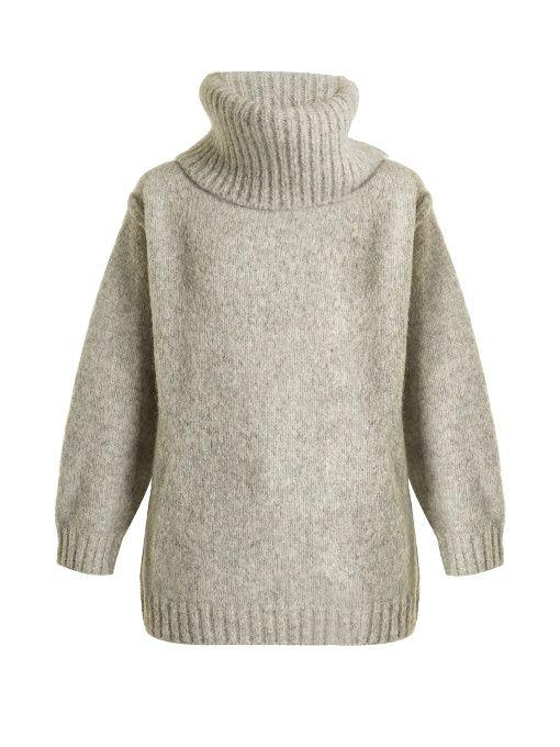 Ashia Oversized Roll neck Alpaca blend Sweater In Light Grey