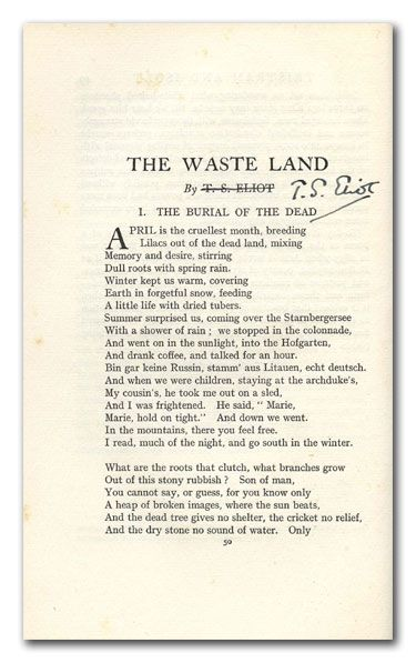 a short analysis of the waste land a poem by ts eliot The initial reception to the love song of j alfred prufrock, by ts eliot subscribe to our mailing list and get new poetry analysis the waste land by ts.