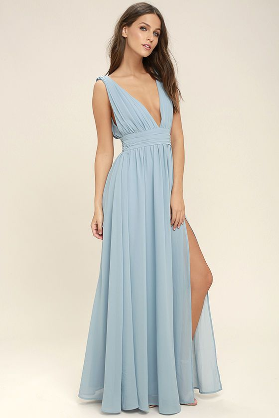 4a474cb4f4 You ll be goddess-like for the entire evening in the Heavenly Hues Light Blue  Maxi Dress! Georgette fabric drapes alongside a V-neck and back