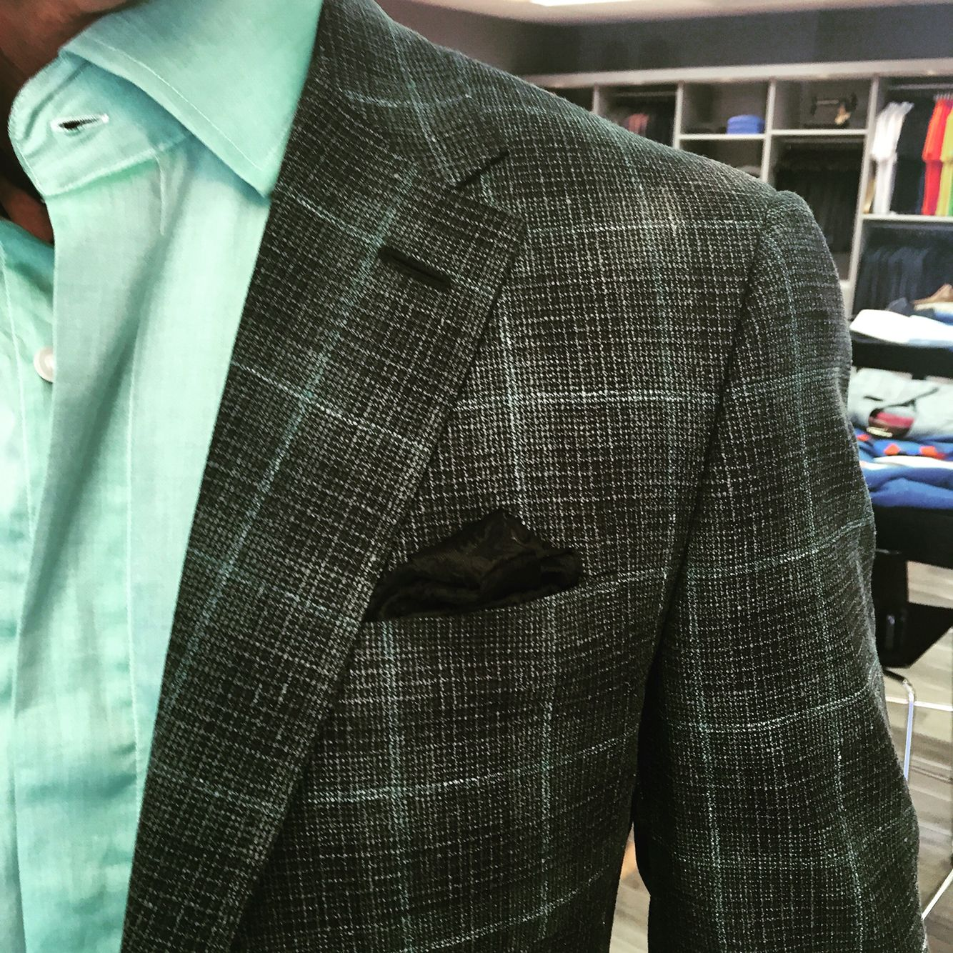 7b2ec1b63d1f Love this Emerald Green windowpane wool,silk,linen sportcoat made with  Gladson fabric. Get yours at www.bspokestyle.com