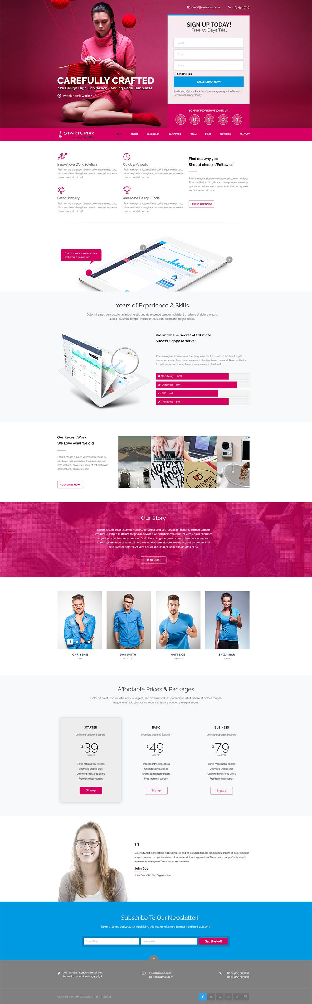 Website Layout Template Pdownload Product And Services Website Landing Page Template Free