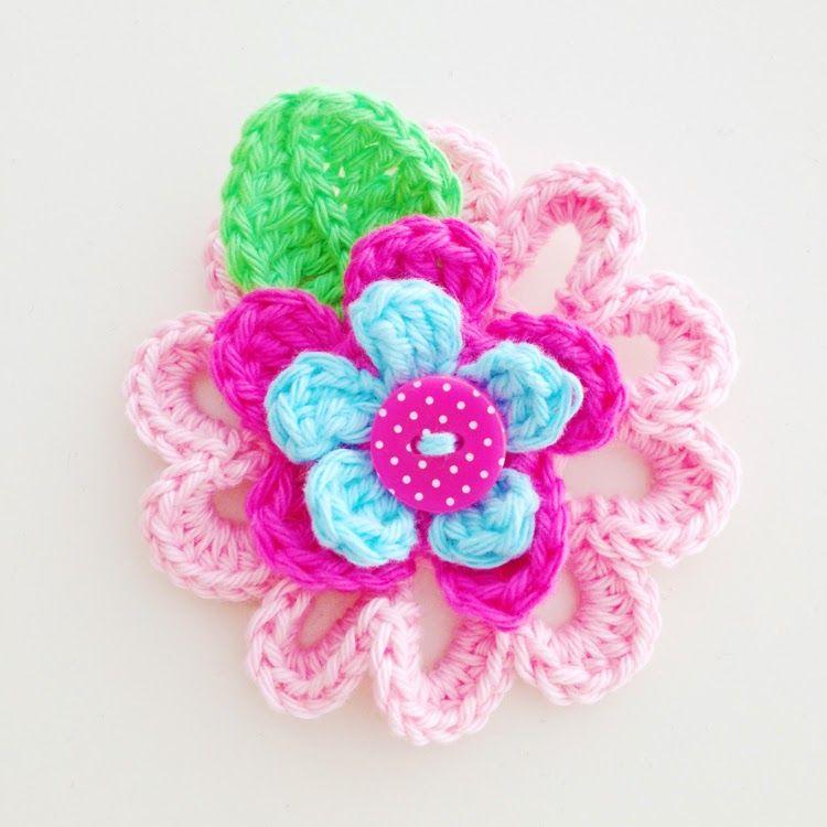 Annemaries Haakblog Flower Brooch Pattern Crochet Pinterest