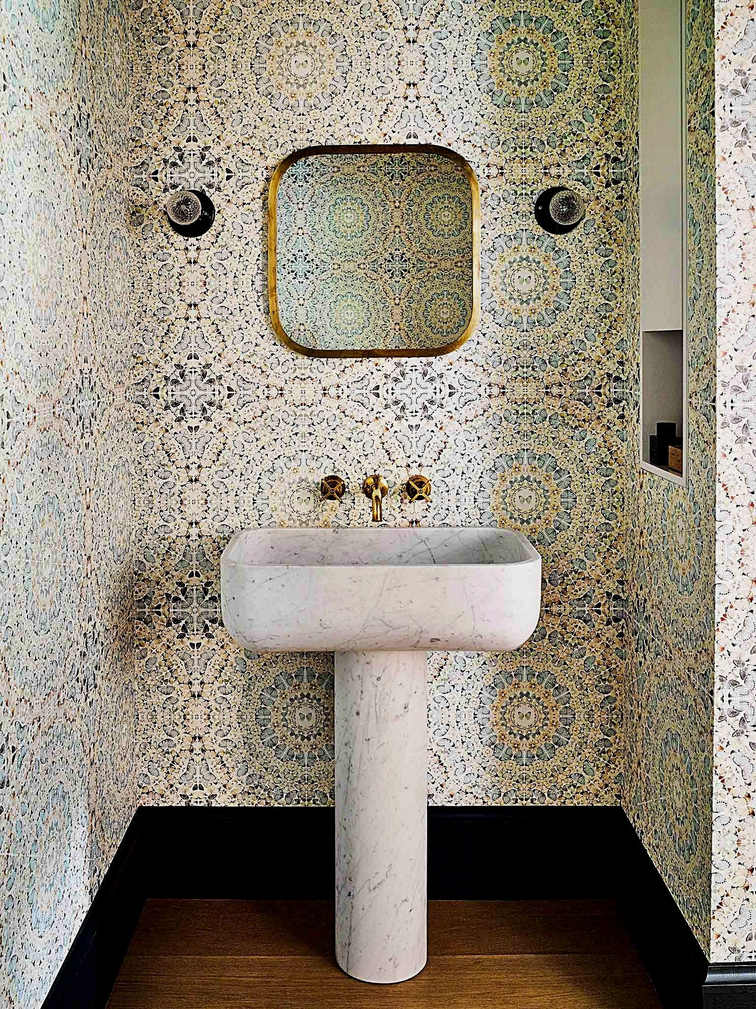 Bathroom Decor Guide The Mirror Will Reflect Light From The Window That Will Create An Effect Like Two Windows Pedestal Sink Pedestal Sinks Diy Bathroom Decor