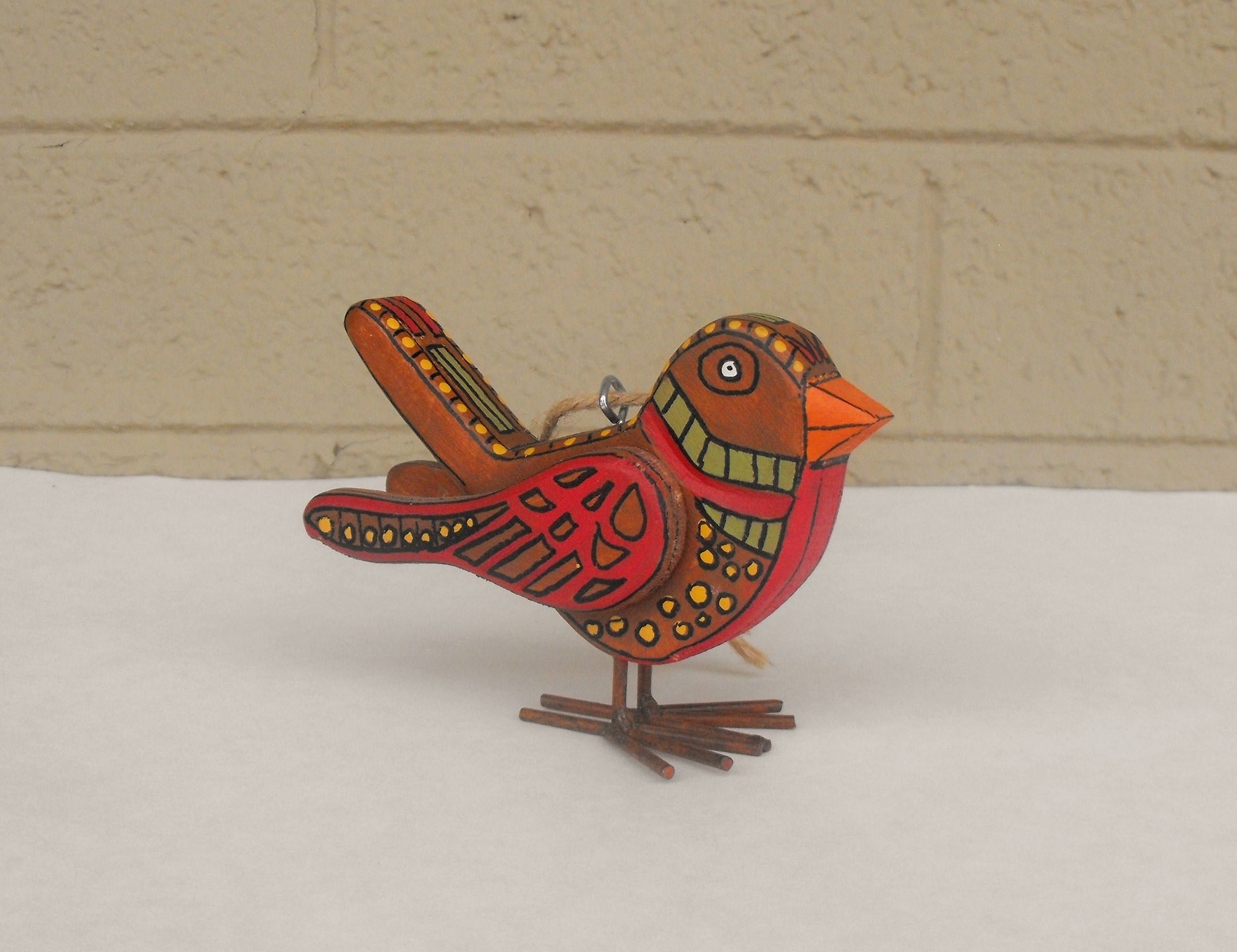 Hand Painted Wooden Bird Christmas Ornament In Folk Art Style Etsy Hand Painted Ornaments Bird Christmas Ornaments Wooden Bird