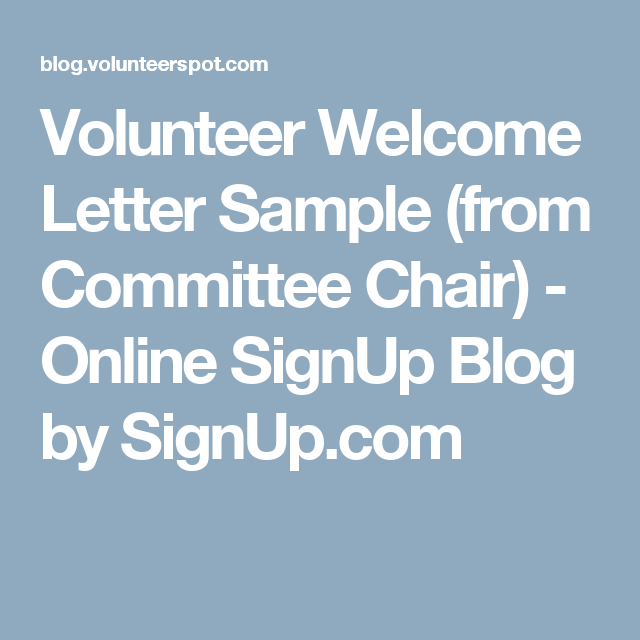 volunteer welcome letter sample  from committee chair