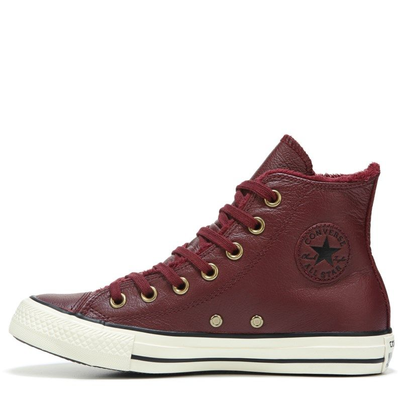 Converse Women s Chuck Taylor All Star Leather Fur High Top Sneakers (Burgundy  Leather) 73059e5be