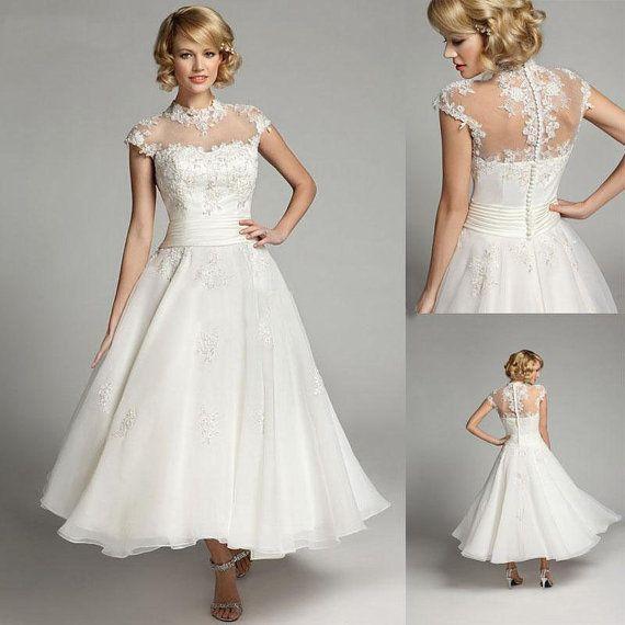 Tea Length Ivory Wedding Dress