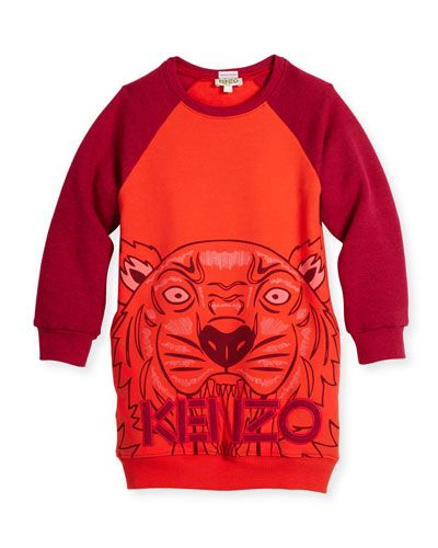 d5dbae898 Long-Sleeve Raglan Sweatshirt Dress, Red, Size 8-12 | *Neiman Marcus ...