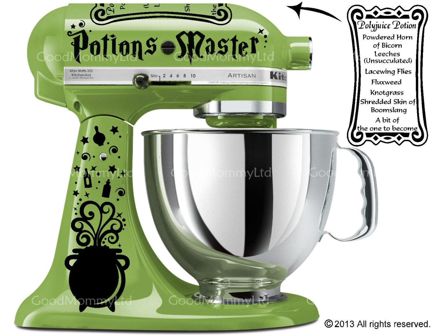 Potions Master Decal Kit For Your Kitchenaid Stand Mixer   Harry Potter  Inspired With Polyjuice Potion