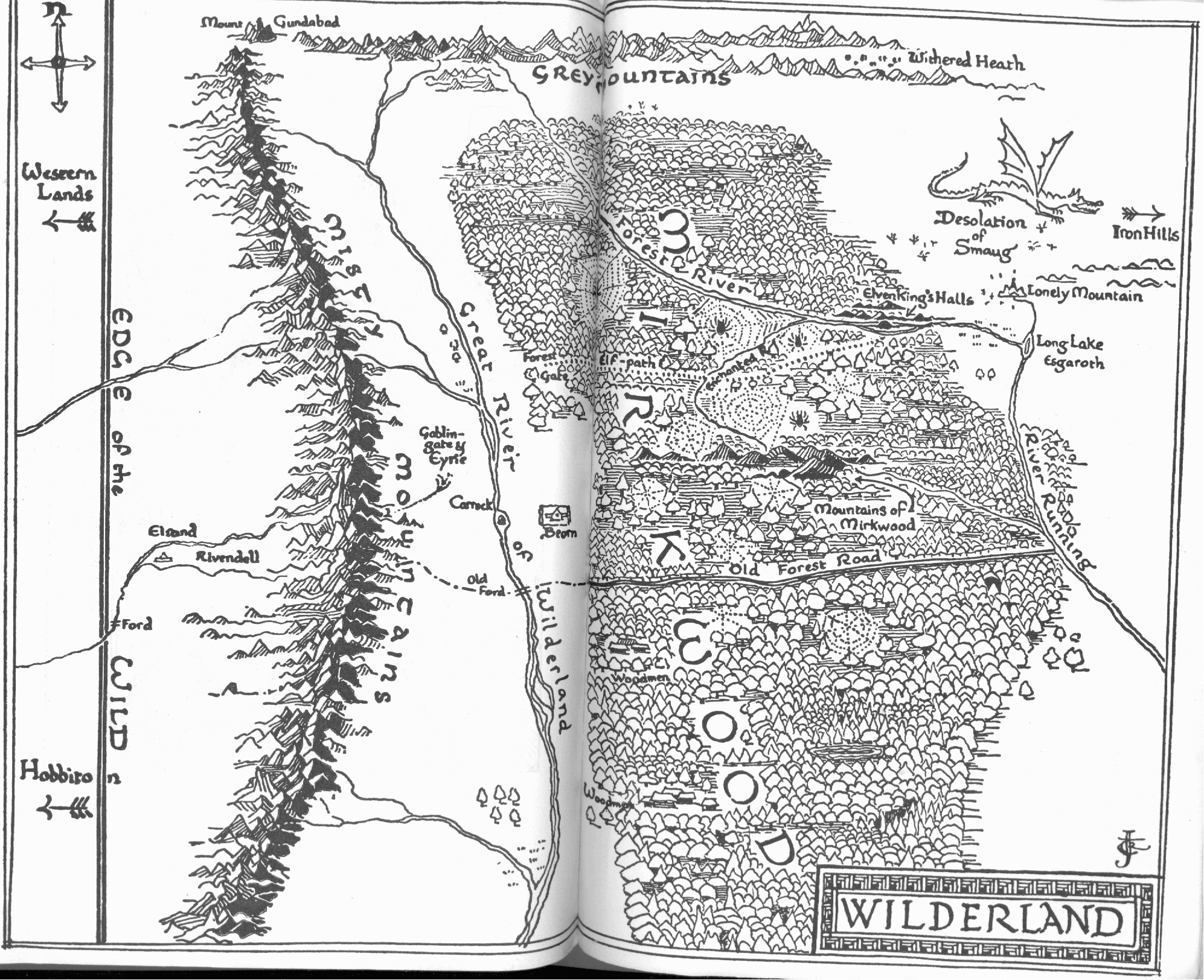 Map Of Wilderland By J R R Tolkien In His Book The