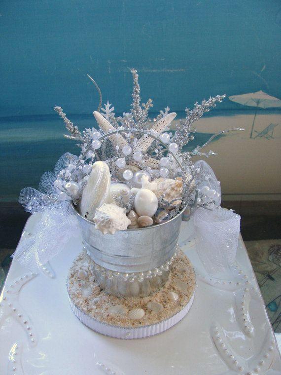 Seashell Wedding Cake Topper Sand Bucketdesigned By CeShoreTreasures On Etsy