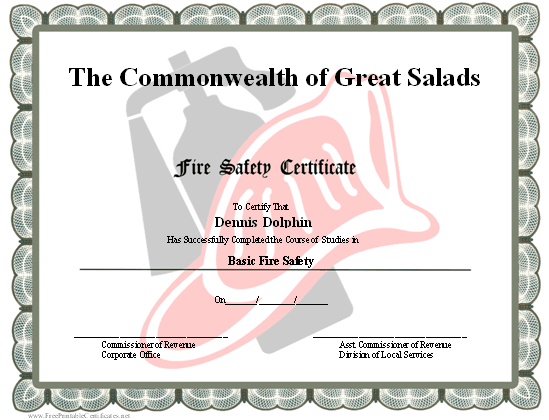 A printable fire safety certificate with a gray border and a red a printable fire safety certificate with a gray border and a red fire hat and extinguisher yadclub Image collections