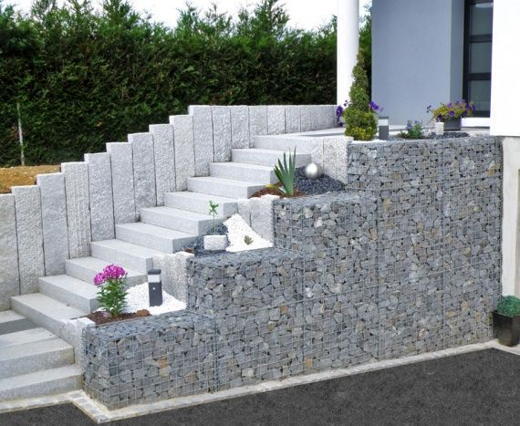 Gabion 12 enrochement pinterest ext rieur escalier for Decoration jardin gabion