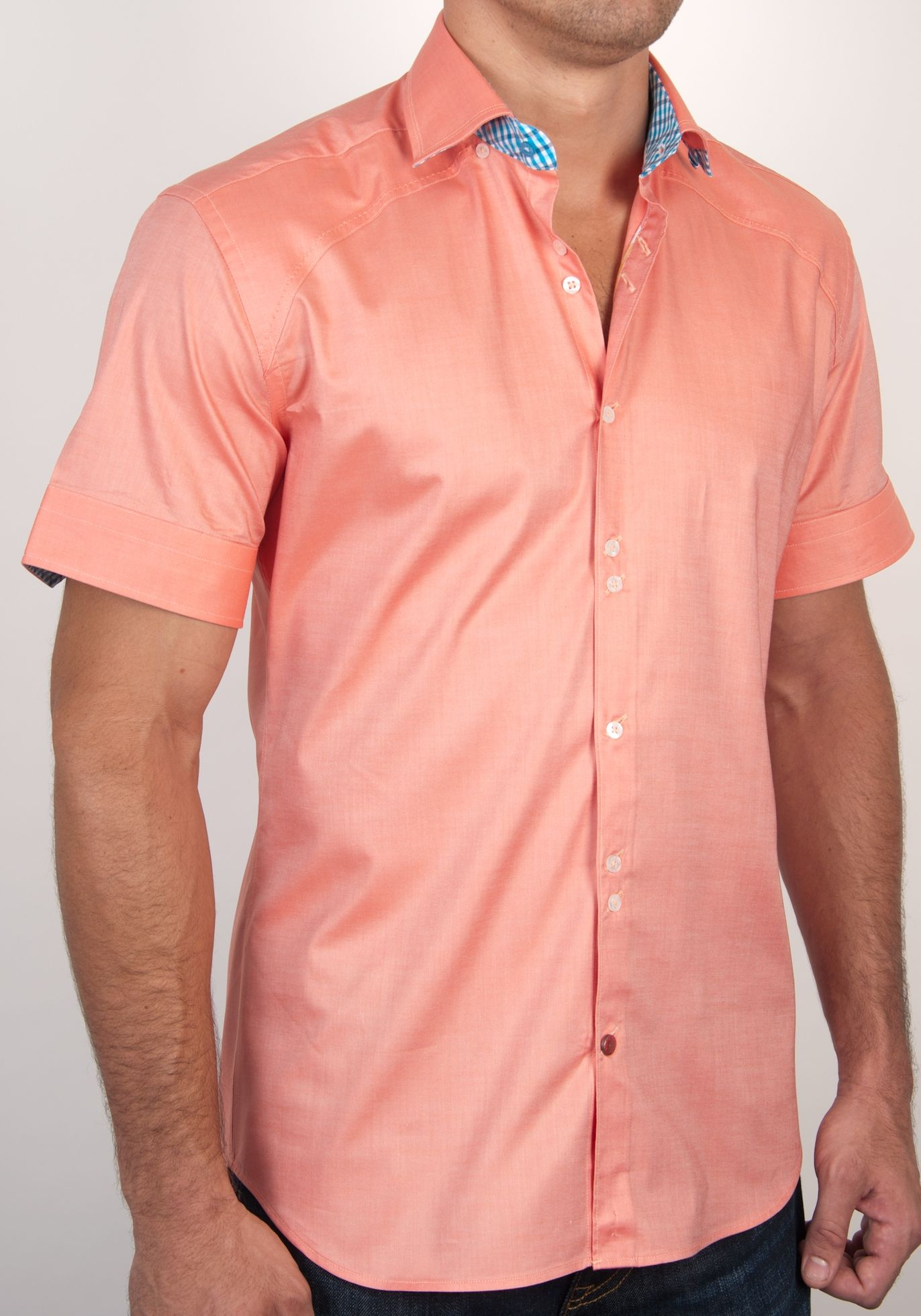 Orange oxford stretch short sleeve button down shirt with ...