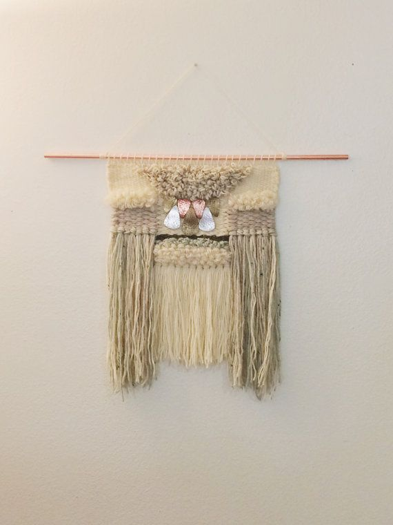 Copper Weave by PersnicketyStudio on Etsy. Weave. Weaving. Wall Decor. Tapestry. Loom. Wallhanging. Woven Tapestry. Handmade.  Mohair, Wool, Copper Pipe, Jewelry.