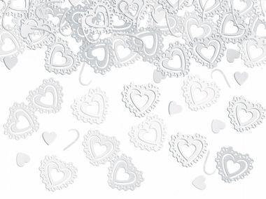Valkoiset sydän confetit 15g