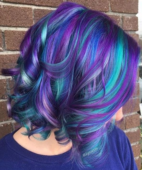 Blue And Purple Multicolored Hair Hair Styles Short Hair Color Winter Hair Color