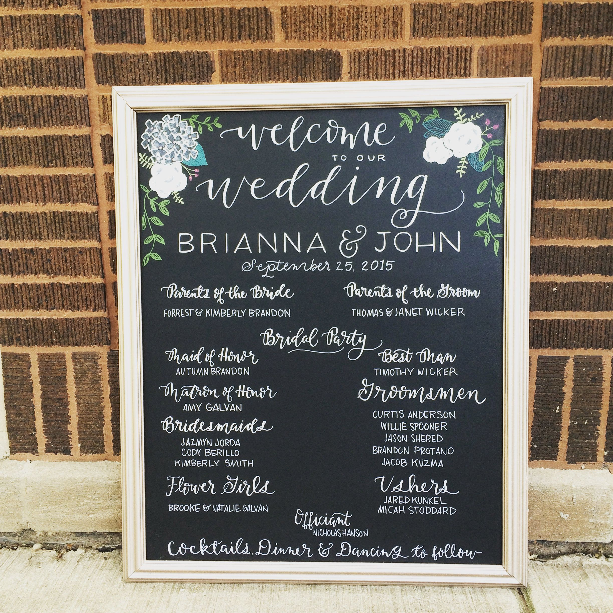 wedding chalkboard signage program wedding flowers and decor