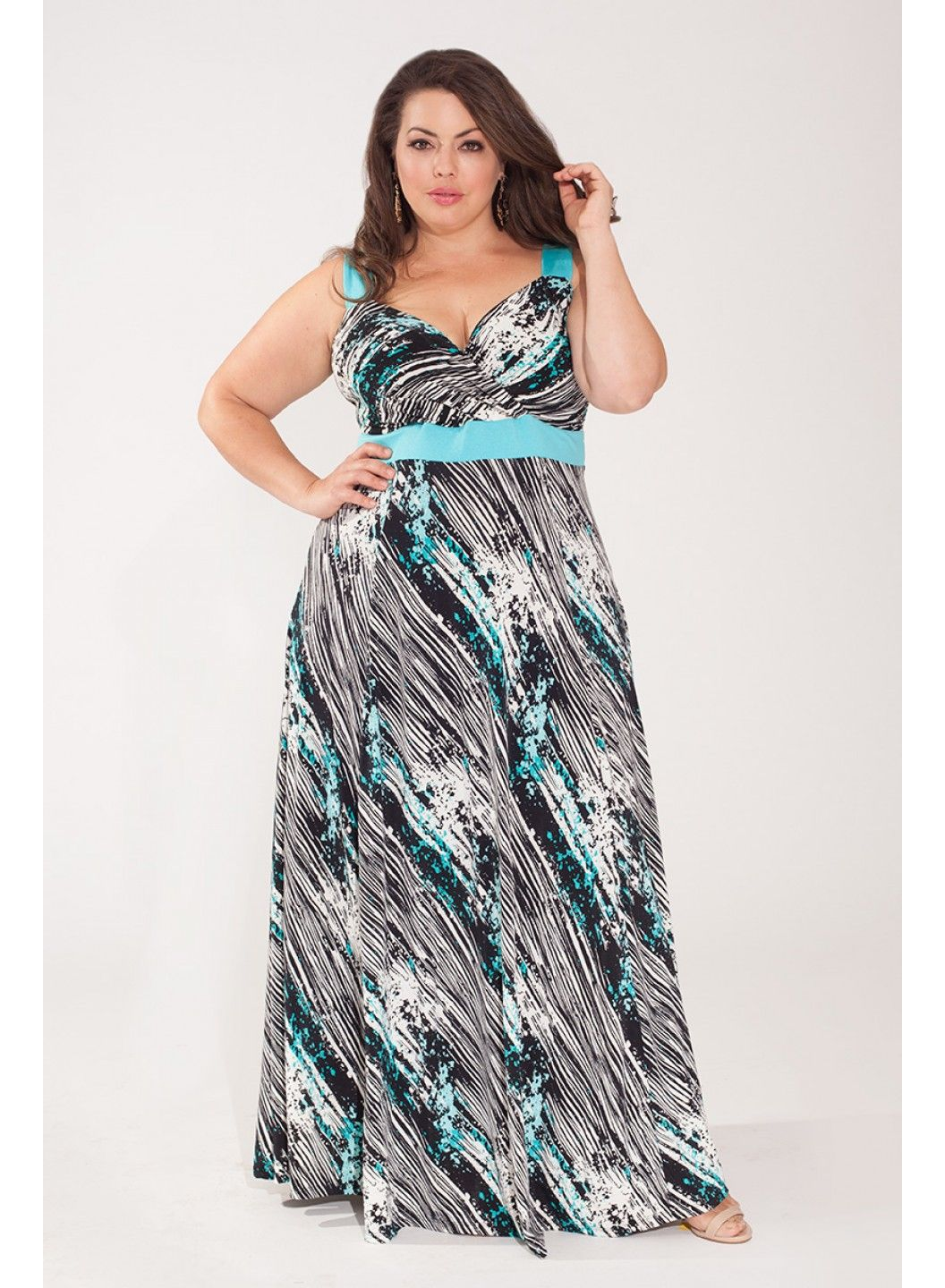Reflections maxi dress in azure plus size clothing pinterest
