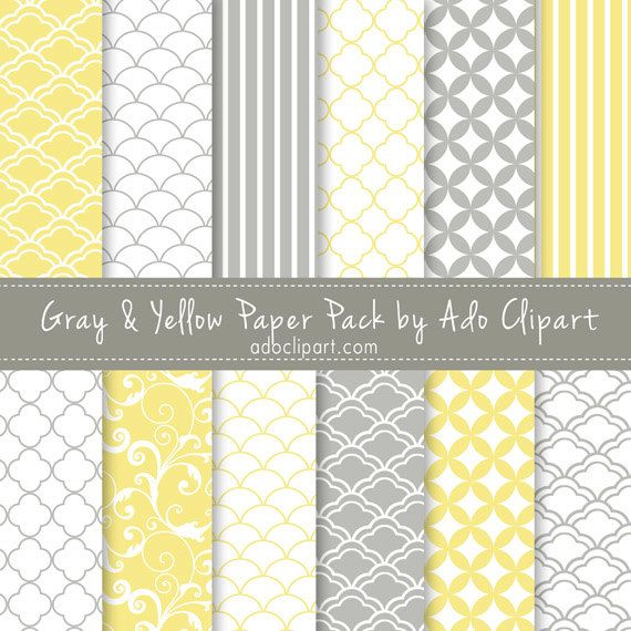 Yellow And Gray Digital Scrapbook Paper Pack Scrapbooking Papers