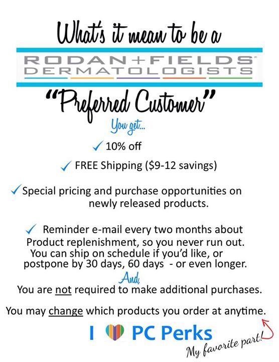 Preferred Customer Perks | Rodan + Fields PC Ideas | Pinterest